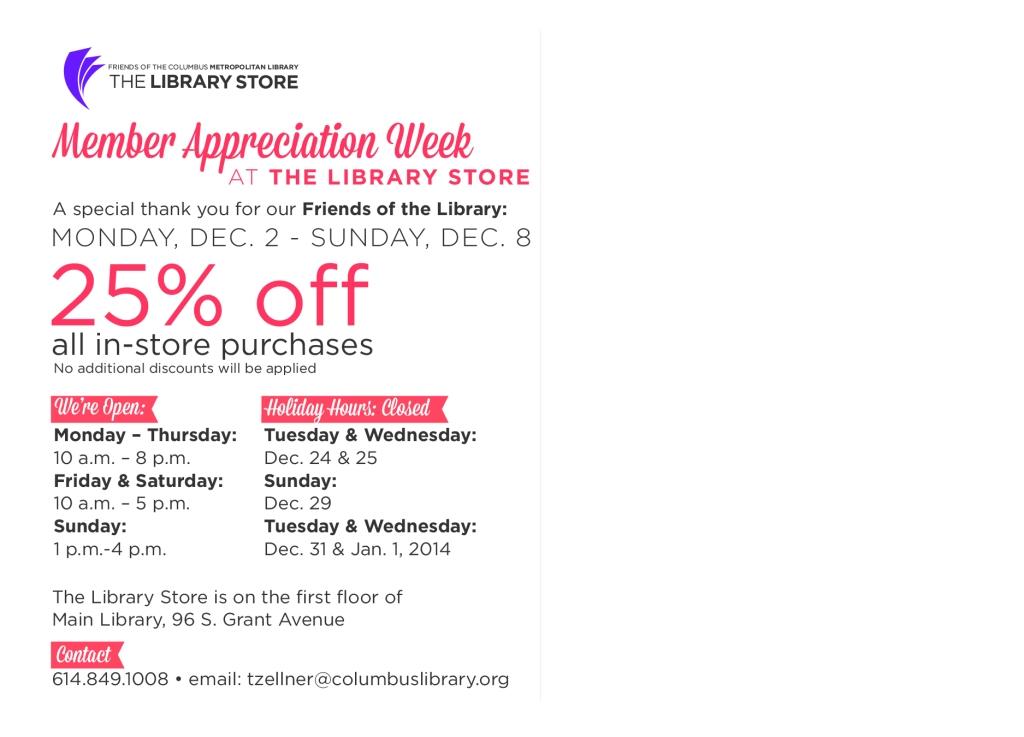 Members Appreciation 2013 Library Store Postcard-Back_